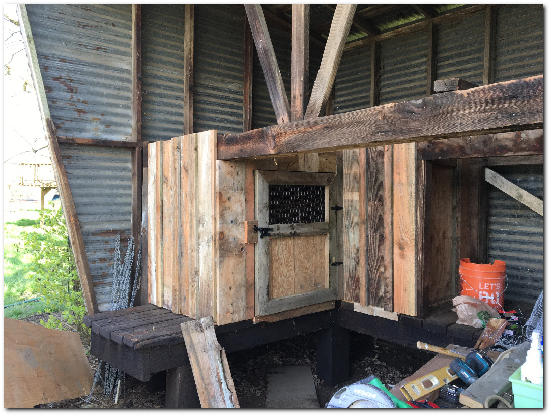 Old barn wood chicken coop