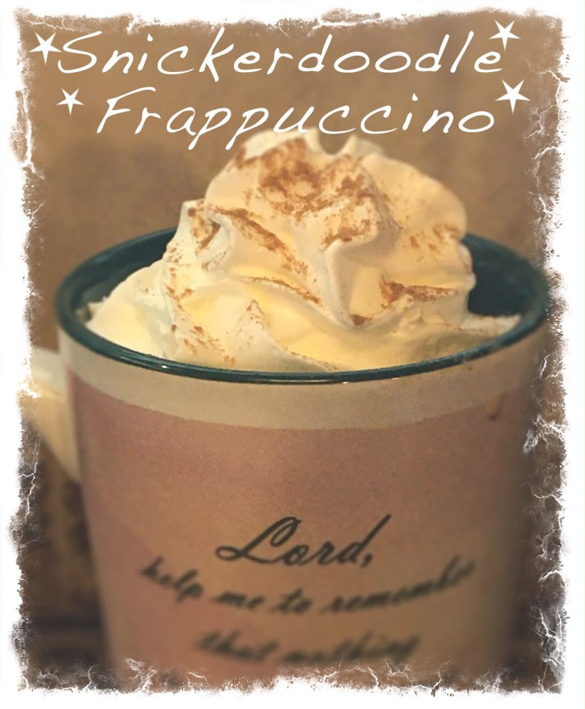 Snickerdoodle Frappuccino topped with whipped cream and cinnamon sprinkles
